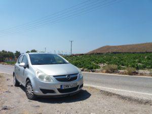 road trip louer une voiture à santorin